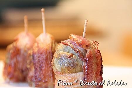 Pincho de alcachofa con bacon y gorgonzola. Receta