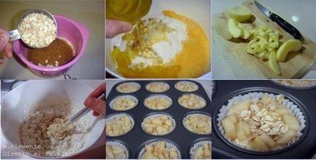 paso a paso muffins fruta y fibra
