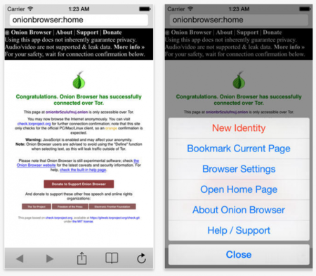 Onion Browser para iPhone