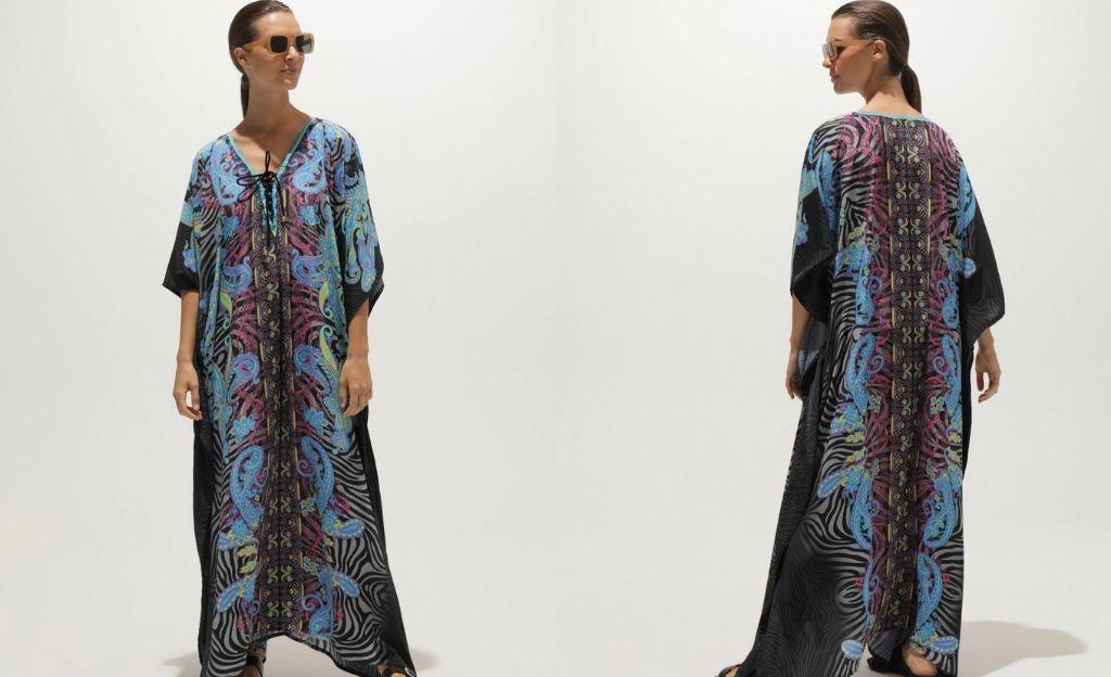 Caftán largo SunRose Fashion con estampado paisley multicolor