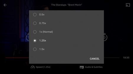 Netflix está probando en Android poder cambiar la velocidad de reproducción para ver más contenido en menos tiempo