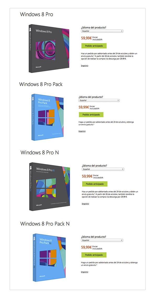 Tabla precios Windows 8 Pro