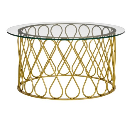 Round glass and iron coffee table