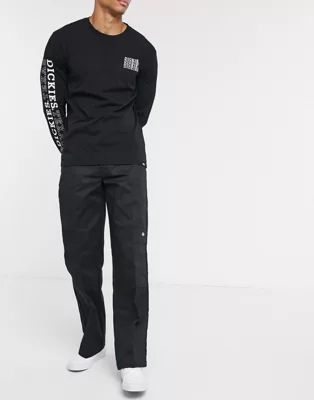 Pantalones de oficina con detalle doble en la rodilla en negro de Dickies