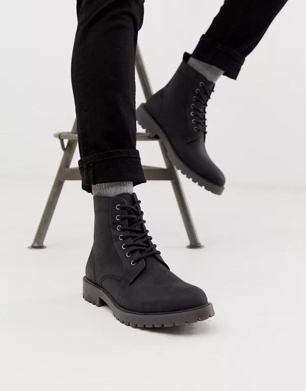Botas de cordones de cuero negro con suela gruesa de ASOS DESIGN