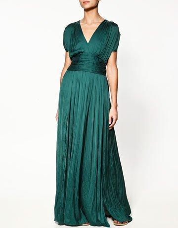 zara vestido verde