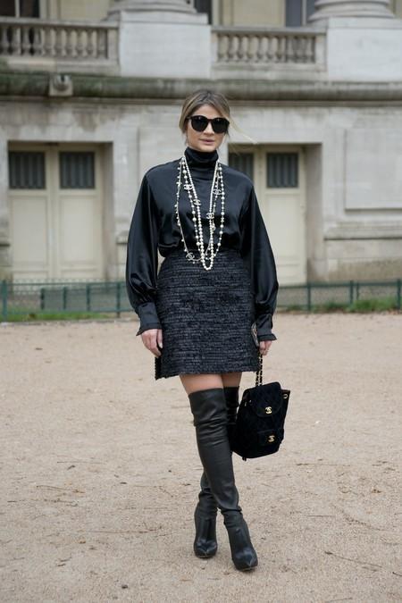 collar de perlas street style