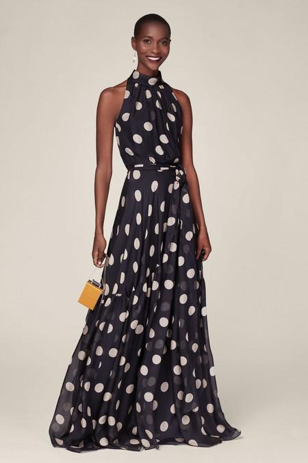 Vestido fluído de seda con polka dots y volante en el bajo