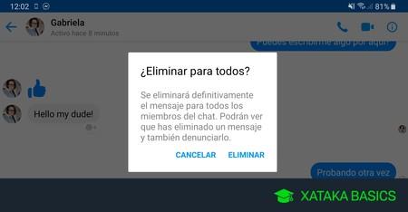 Cómo borrar un mensaje que has enviado a Facebook Messenger