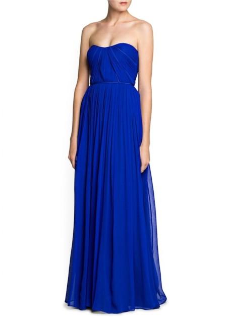 vestido azul klein gasa de mango