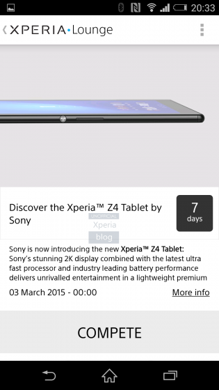 Xperia Z4 Tablet Lounge