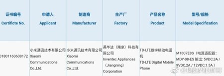 Mi Max 3 3c Certification