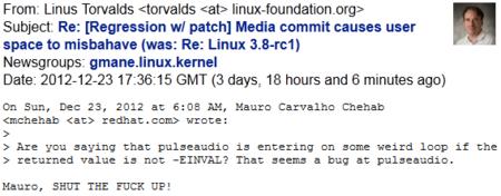 Rapapolvos público de Linus Torvalds a un committer del kernel Linux