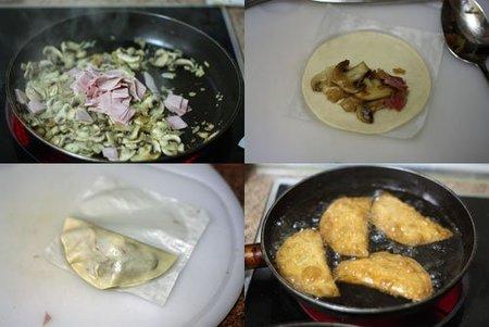 Fotos de la elaboración de las empanadillas de champiñon, jamón y queso