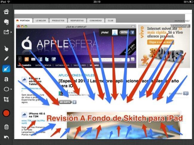 Edición de captura de la página web de Applesfera en Skitch