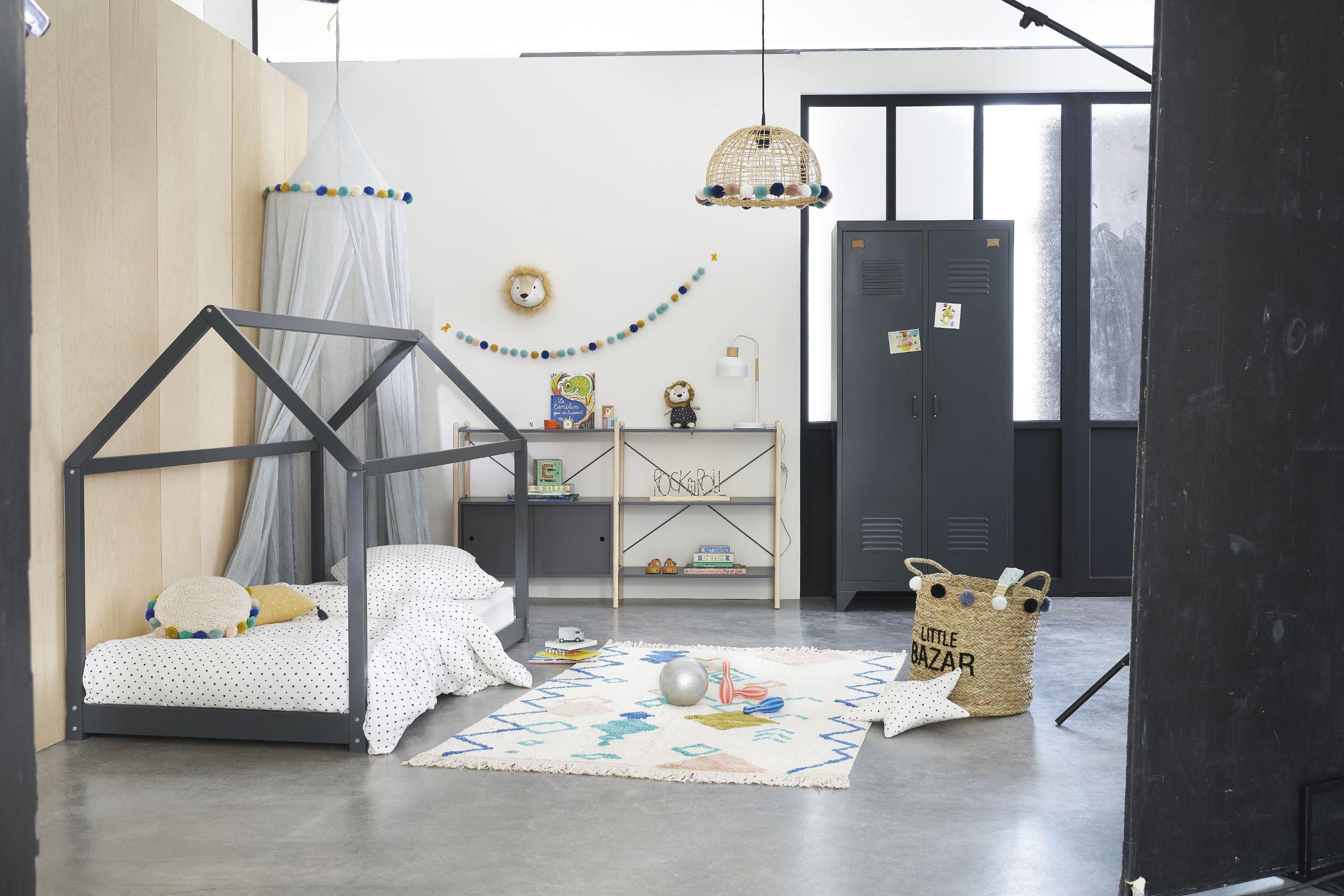 Cama casita infantil de pícea gris antracita 90 x 190 cm