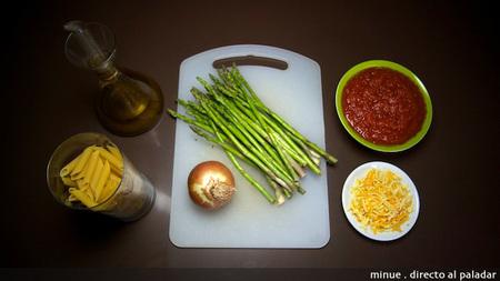 Macarrones con espárragos verdes - ingredientes