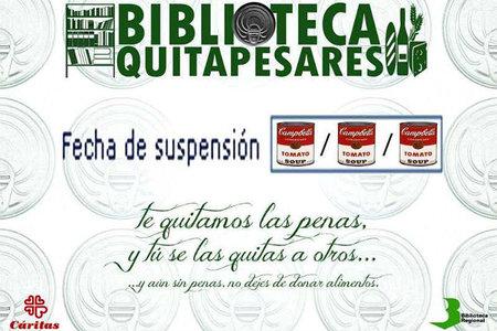 Biblioteca Quitapesares en Murcia, donando alimentos te perdonan tu sanción