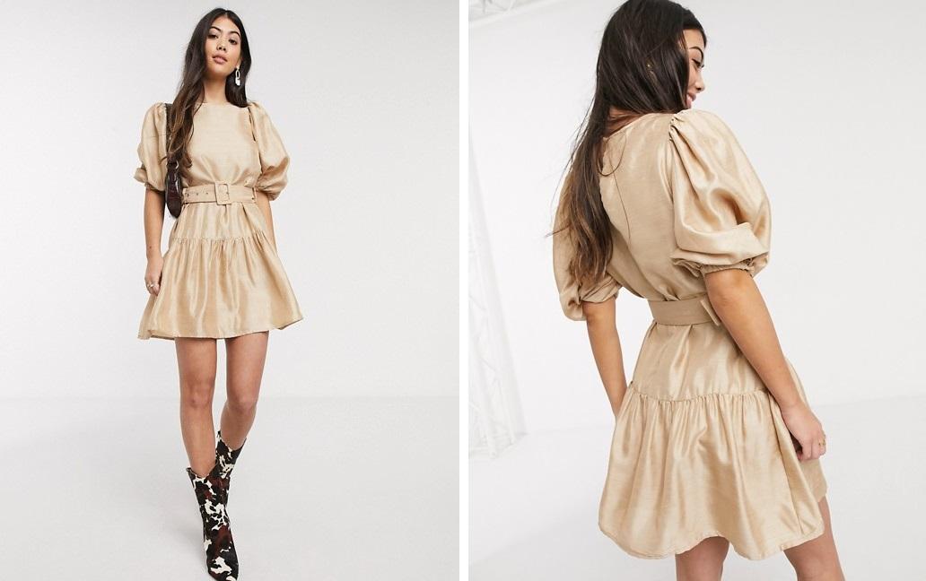 Vestido holgado con cinturón y manga abullonada de Vero Moda
