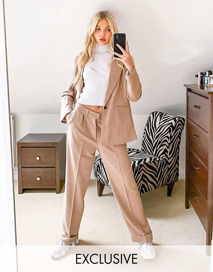 Pantalones color camel de pernera ancha y talle alto de Reclaimed Vintage
