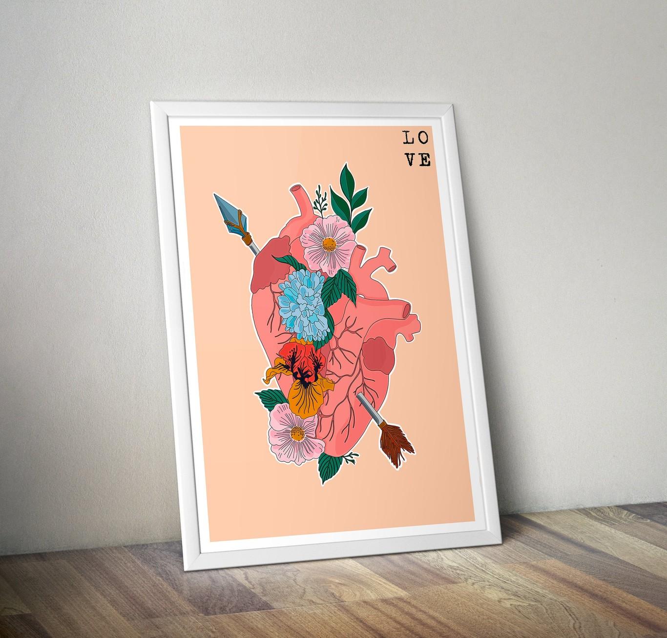 Lámina corazón y flores