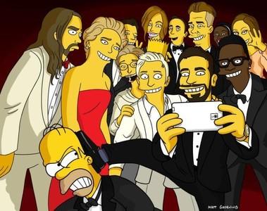 """La versión Simpson del """"selfie"""" de los Oscar, la imagen de la semana"""