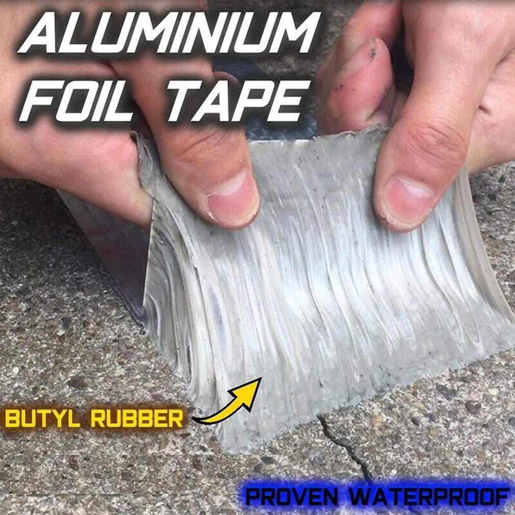 Cinta de aluminio y caucho butílico superimpermeable, para goteras, grietas superficiales, huecos en el marco de la ventana o roturas de tuberías