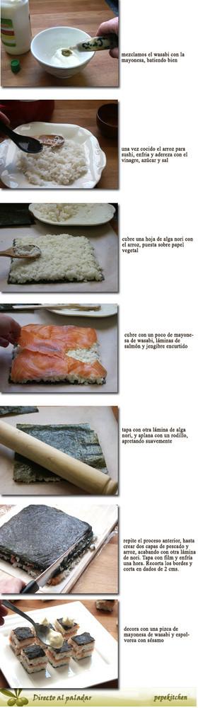 sushi en capas pasos