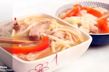 Receta de fideos udon con secreto ibérico