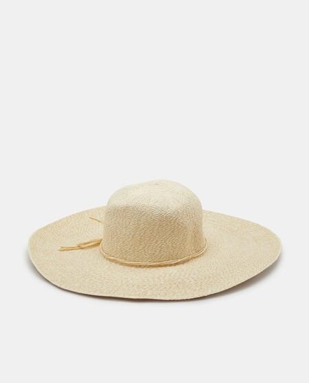 Sombrero De Mujer Beige Con Cinta