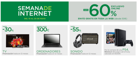 Semana de Internet en El Corte Inglés con hasta un 60% de descuento y envíos gratis