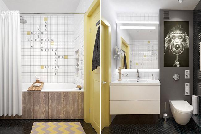 Baño Pequeno Azulejos Grandes O Pequenos:Un pequeño apartamento lleno de grandes ideas decorativas