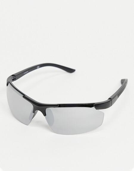 Asos Design 90s Square Sunglasses In Black With Mirrored Lens