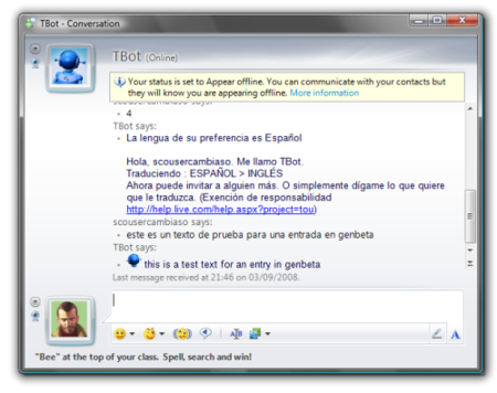 Bot de traduccion para Windows Live Messenger
