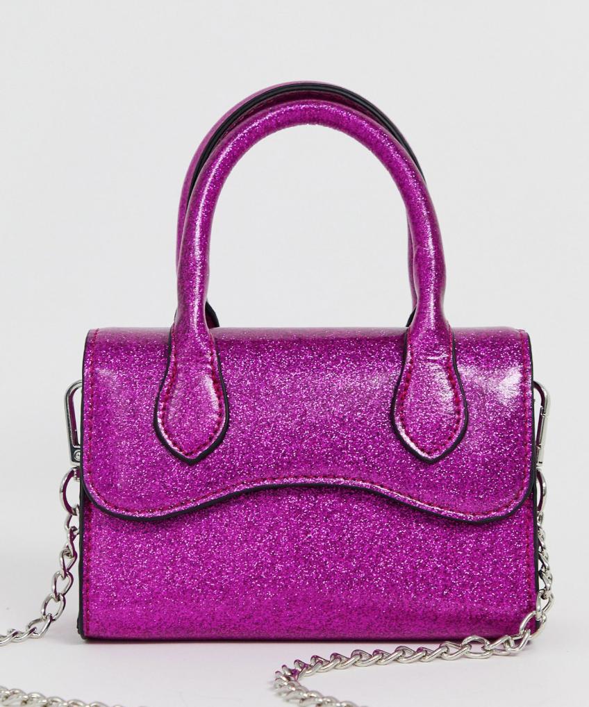 Bolso de mano con solapa redondeada y correa de quita y pon con diseño de purpurina pequeña de ASOS DESIGN
