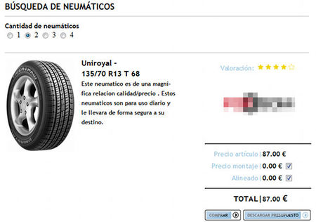 Cochombo, oferta de neumáticos