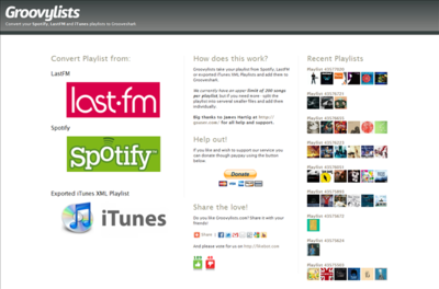 Groovylists, exporta a Grooveshark listas de Spotify, Last.fm e iTunes