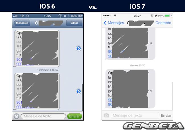 iOs 6 vs iOs 7 - mensajes