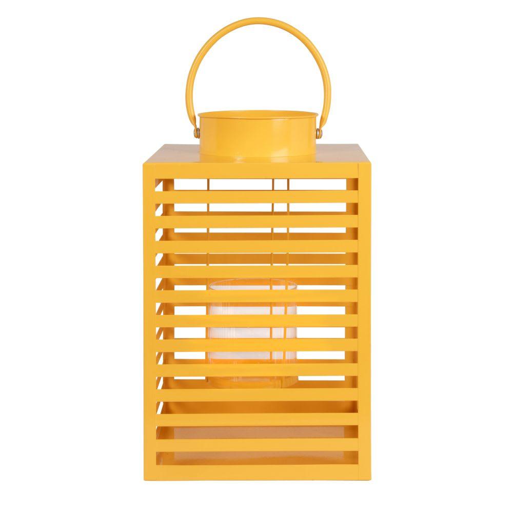 Portavelas de metal calado amarillo