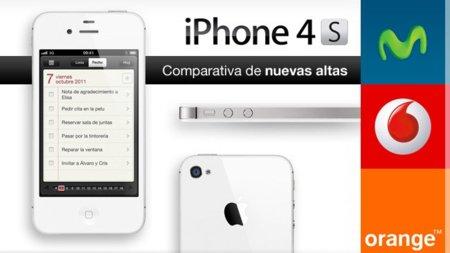 Comparativa de precios de nuevas altas y migraciones del iPhone 4S con Movistar, Vodafone y Orange