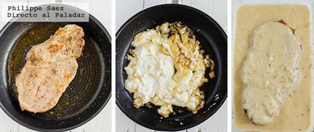 Chuletas de res en salsa cremosa de mostaza. Receta fácil
