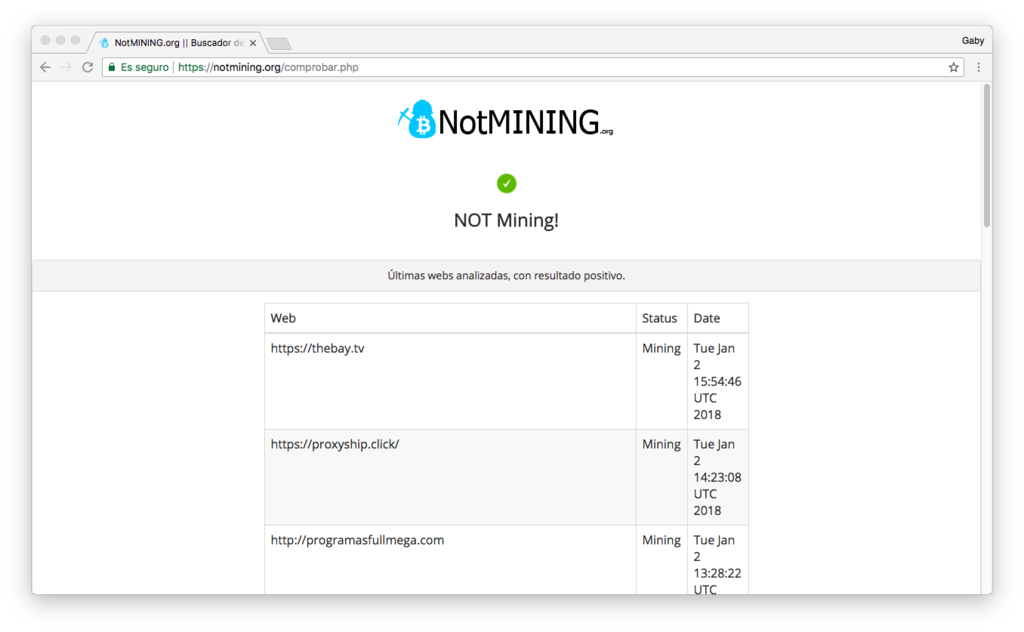Notmining Org Buscador De Webs Que Minan Criptomonedas 2018 01 02 17 05 33