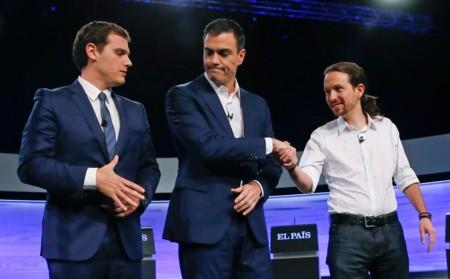 Albert Rivera Pedro Sanchez Y Pablo Iglesias Antes Del Debate