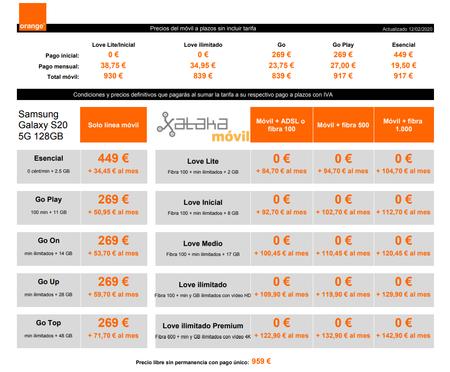 Precios Samsung Galaxy S20 5g De 128gb Con Tarifas Orange