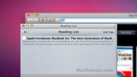 apple reading list safari interfaz