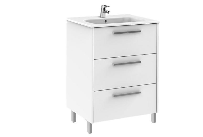 Mueble de baño con lavabo Unik Apolo blanco 58.5x45 cm