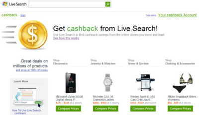 Live Search Cashback pronto llegará a Europa