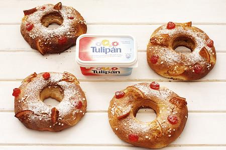 Receta de mini roscones de Reyes con margarina Tulipán