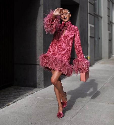 Combinar Vestido Rosa Zapato Bolso 06