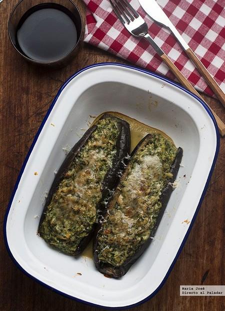 Berenjenas rellenas de espinacas y atún: receta con y sin Thermomix